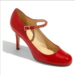 Kate Spade Red Kea Gold Chain Patent Leather Heels